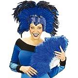 Tocado de plumas azul joya espectáculo travesti