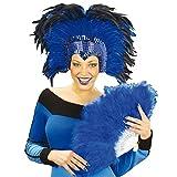 NET TOYS Travestie Feder Kopfschmuck Show Schmuck Federschmuck Samba Federkopfschmuck Fasching Karneval blau