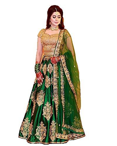 Women\'s banglory Silk Embroidered Lehenga Choli (Green_Lehenga Choli_Free)