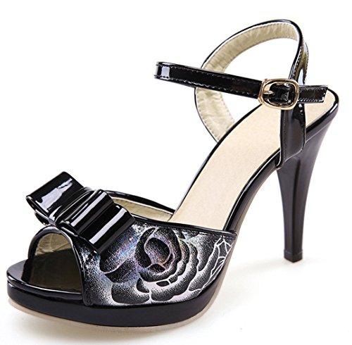 Plateau High Heel 10cm Pumps Damen Stiletto Open Toe Mary