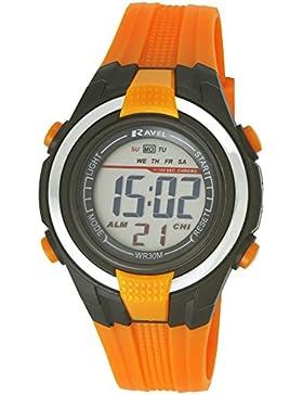 Ravel Jungen Sportliche Digital-Armbanduhr LCD-Display, schwarzes Gehäuse, wasserdicht Kunststoffband Orange RDG-18
