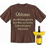 Geschenke Set GoodmanDesign zum Geburtstag für rüstige Rentner Männer lustiges T-Shirt Oldtimer Topzustand und BIRTHDAY Flaschenshirt Gr: L in braun : )