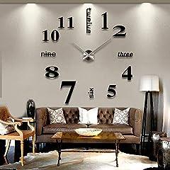 Idea Regalo - MFEIR® Modern Wall DIY Orologi da parete Grande Guarda Decor Adesivi effetto specchio acrilico decalcomania domestica di vetro rimovibile Decoration Nero