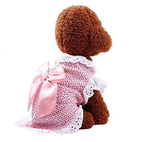 Robemon Hundebekleidung Sommer Polka Dots Prinzessin Kleiner Hund Spitzen Patchwork Kontrastfarbe Spitze Pet Puppy Rüsche Outfits mit Knoten