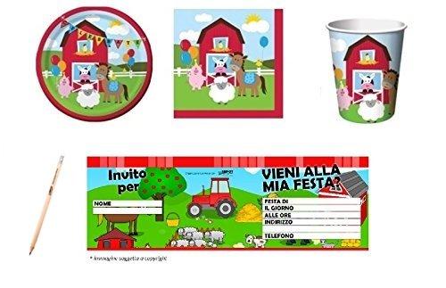 Irpot - kit n.23 coordinato compleanno fattoria + blocchetto inviti