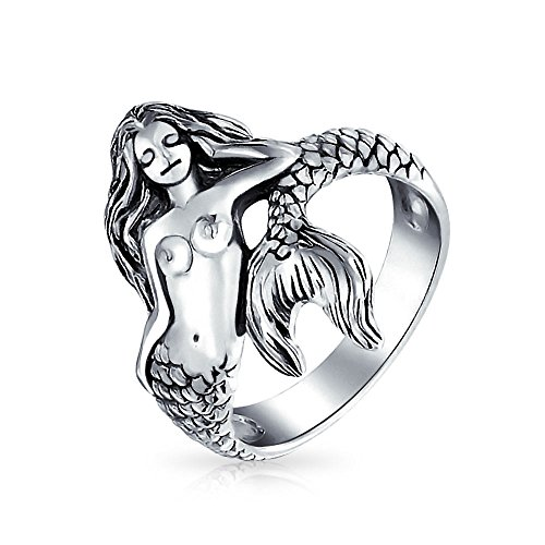 Bling Jewelry Plata 925 estilo antiguo mar Náutica Ninfa Anillo Sirena