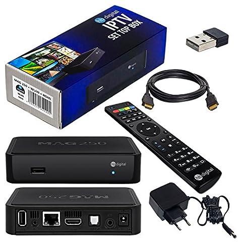 MAG 250 Original IPTV SET TOP BOX Multimedia Player Internet TV IP Receiver + Nano WLAN Stick + HB Digital HDMI Kabel