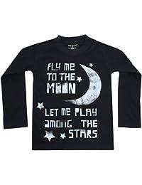 Fly Me to the Moon Kids Long Sleeve Tee Black