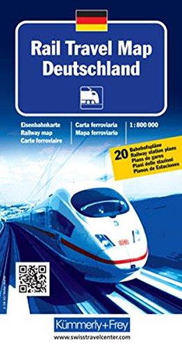 Rail Travel Map Deutschland: Massstab 1:800 000, Eisenbahnkarte, mit 20 Bahnhofspläne (Kümmerly+Frey Thematische Karten, Relief)