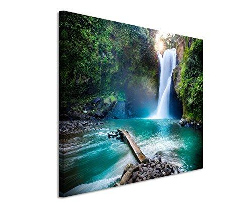 Paul Sinus Art Kunstfoto auf Leinwand 60x40cm Landschaftsfotografie – Wasserfall im Regenwald auf Leinwand Exklusives Wandbild Moderne Fotografie für Ihre Wand in Vielen Größen