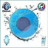 Berri Mini Ultra Portable Wasserdicht Bluetooth Wireless Stereo-Lautsprecher mit Saugnapf für Duschen Badezimmer–Blau