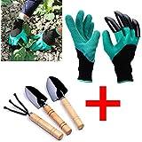 jardin gants imperméables à l'eau avec des griffes de la main droite pour creuser l'outil des gants roses de jardin 1 paire (avec 3 morceaux diy garden outil à main)