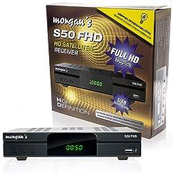 Morgan's S50 FHD digitaler Satelliten Sat-Receiver (HDTV, DVB-S2, HDMI, SCART, USB 2.0, Full HD 1080p, LAN Anschluss) [vorprogrammiert für Astra] mit Aufnahme und Timeshift - schwarz