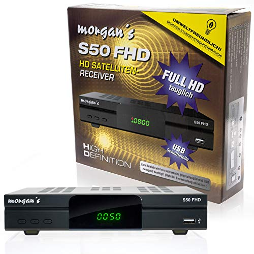 Morgan's S50 FHD digitaler Satelliten Sat-Receiver (HDTV, DVB-S2, HDMI, SCART, USB 2.0, Full HD 1080p, LAN Anschluss) [vorprogrammiert für Astra] mit Aufnahme und Timeshift - schwarz