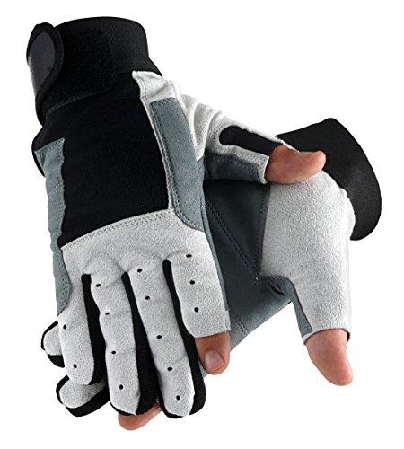 Stagecaptain Rigger Handschuhe M (Größe M, mit 2 kurzen Fingern, Innenfläche Kunstleder, aufgesetzte Verstärkungen) Grau/Schwarz