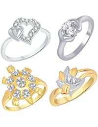 VK Jewels Gold And Rhodium Plated Alloy Ring Combo Set For Women & Girls Made With Cubic Zirconia - COMBO1554G...