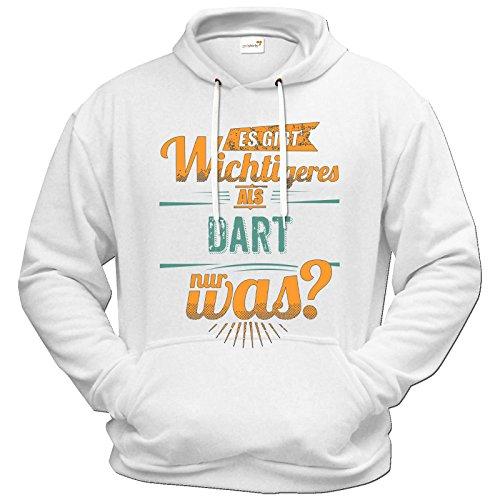 getshirts - RAHMENLOS® Geschenke - Hoodie - Sportart Dart - es gibt wichtigeres als - petrol - weiss XXL