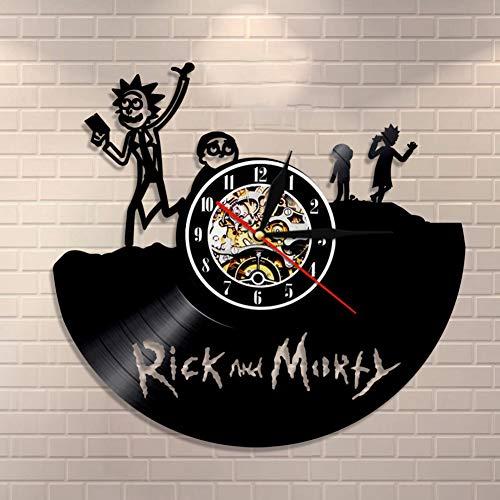 (ZY&DD Vinyl Records Uhr,Moderne wanduhr,Wanduhr leise,Wanduhr Disney Vinyl geführt Für Schlafzimmer Klassenzimmer Bibliothek Office-schwarz 12inch)