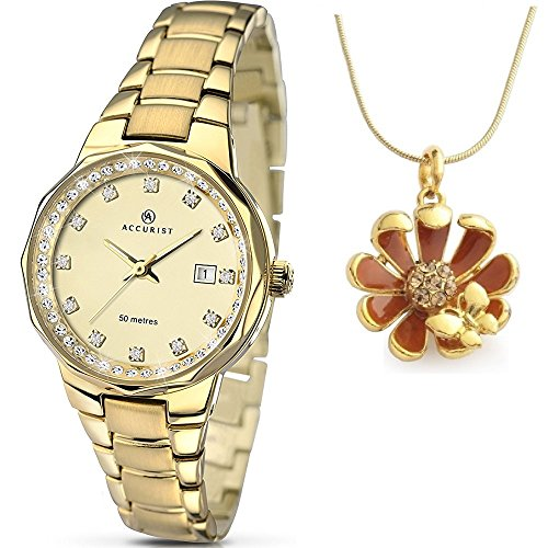 Accurist Stone Set Gold Dial Gold Plated Stainless Steel Bracelet Ladies Watch 8015 and Pendant Free Gift