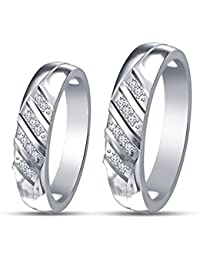 Vorra Fashion Platinum Plated 925 Sterling Silver Round Cut CZ His & Her Wedding Matching Band Set