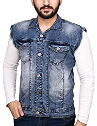 ICO Blue Star Half Sleeve Self Design Men's Denim Jacket