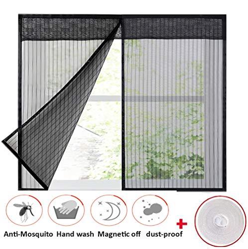 Ruber tenda zanzariera magnetica per finestre con calamita nera, rete autoadesiva per finestra a rullo,magic mesh per interno esterno, con nastro autoadesivo,140x145cm(55x57inch)