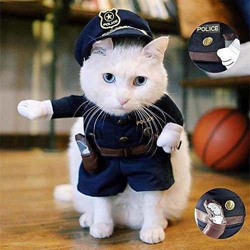 Jiali Polizei-Kostüm für Katzen und Hunde L (Polizei Katze Kostüm)