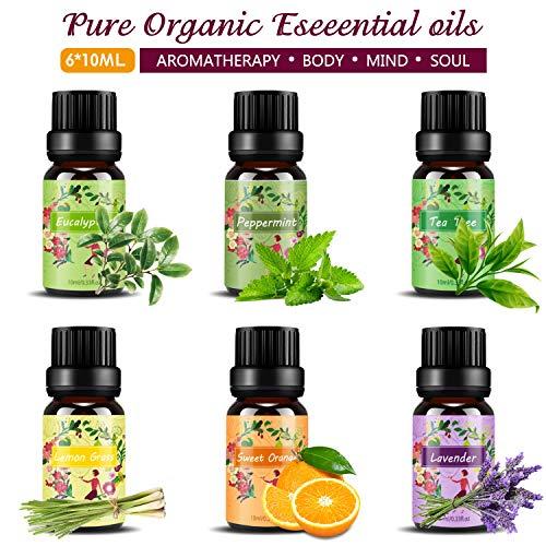 Set de aceites esenciales,100{e2c4ba50f4299b42aaab8ec33df37cf33ccbaf9386a495298441b9fb2eb3e23e} Natural Puro Aromaterapia Aceite Aromático,6 x 10 ml (Lavanda, Hierba de Limón, Menta, Eucalipto, Árbol de té, Naranja dulce) para Humidificador y Difusor Aroma