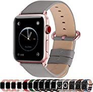 Apple Watch Band,Fullmosa Genuine Leather Strap with Stainless Steel Clasp for Apple Series SE/6/5/4/3/2/1,44m