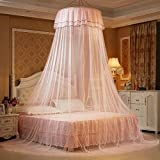 iBaste Moskitonetz Prinzessin Hängende Runde Spitze Baldachin Bett Netting Comfy Student Dome Moskitonetz für Kinderbett Twin Full Queen-Bett (Beige)