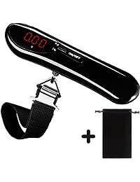 DeFe Báscula Digital de Equipaje Portátil 50kg/110lb con Ergonómica Pantalla LCD Función de Tara y Datos-Bloqueados, Balanza para Maletas de Viaje