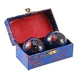 SUPVOX Baoding balls cinesi Baoding Palla Katomi per esercizi antistress palla terapia cinese 4.5cm (Nero draghi e fenici) - 2pz
