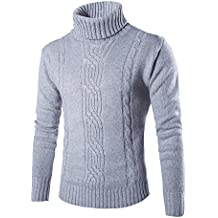 ZhuiKun Mens Roll Polo Neck Knitted Jumper Long-Sleeved Turtleneck Top Knitted Sweater