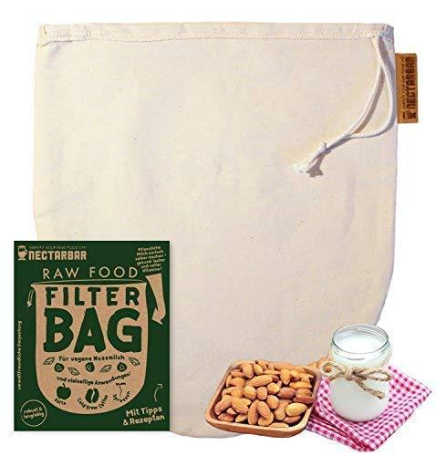 NECTARBAR Eco Nussmilchbeutel Filterbeutel aus Baumwolle Natur Passierbeutel für vegane Pflanzenmilch, Hanfmilch, Mylk, Entsaften 100% Plastikfrei RAW Food Filter Bag + Anleitung
