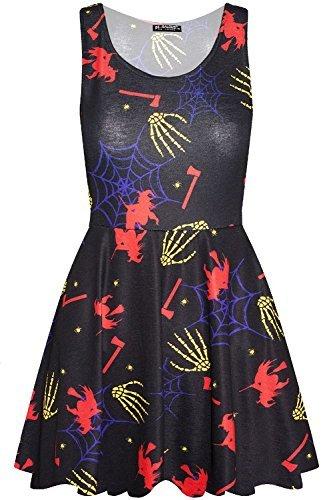 loween Kostüm Schädel Netz Schmuck Pumpkin Party Damen Swing Skaterkleid UK Übergröße 8-22 - Unheimlich Skelett, Plus Size (UK 20/22) (Unheimliche Halloween Kostüme Uk)