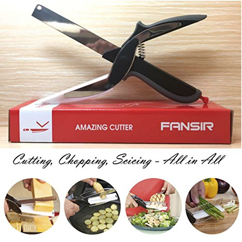 Clever Cutter 2-in-1 Food Chopper - Replace your Kitchen Knives and Cutting Boards,Baby Food Supplement Scissors