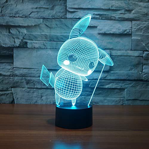 Lampe der Illusions-3d / 7 ändernde Farben Noten-Nachtlicht/Baby-Schlafzimmer-Dekoration/Kindergeschenk/Pikachu
