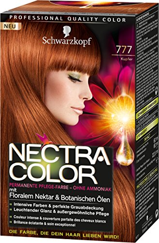Nectra Color Permanente Pflege-Farbe, 777 Kupfer, 3er Pack (3 x 143 ml)