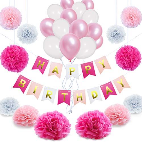 NextDeko Happy Birthday Geburtstagsdeko Rosa Weiß - Hochwertige Geburtstag Deko Set Mädchen Frauen - Kindergeburtstag Party Dekoration Zubehör Pink - Girlande Pompoms Geperlte Ballons