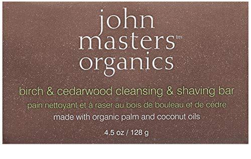 John Masters Organics birch and cedarwood, Rasier- und Körperseife,1er Pack (1 x 128 g)
