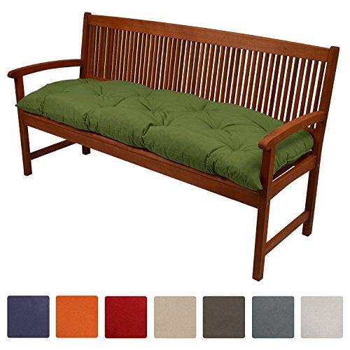 Gartenmöbel Kissen (Beautissu Bankauflage Flair BK ca.150x50x10 cm bequeme Polster Garten-Bank Auflage Sitzauflage Bank in Grün)