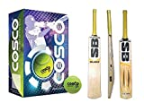 SB Blade Himachal Willow Cricket Bat ( Size SH) (Made in India) with Cosco Light Weight Tennis Ball