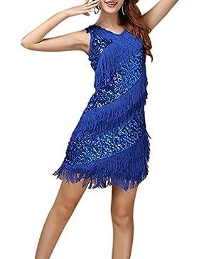 Mujer Latino Vestido Vestido Latino Danza Rumba Borla De Lentejuelas De Baile Zafiro
