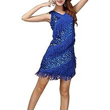SaiDeng Mujer Latino Vestido Vestido Latino Danza Rumba Borla De Lentejuelas De Baile Zafiro