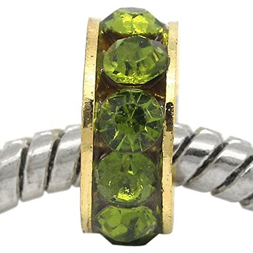SEXY SPARKLES, Rhine-Spacer Beads Rondelle, argento-placcato-base, colore: verde, cod. 4356