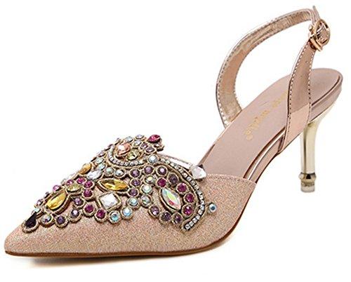 Aisun Damen Elegant Strass Pointed Toe Slingback High Heels Stiletto Pumps Gold