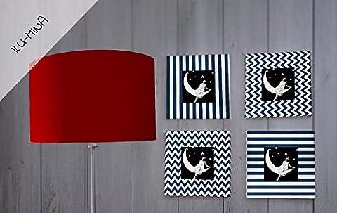 Set: Lampenschirm handgemacht 30 cm Durchmesser plus 4