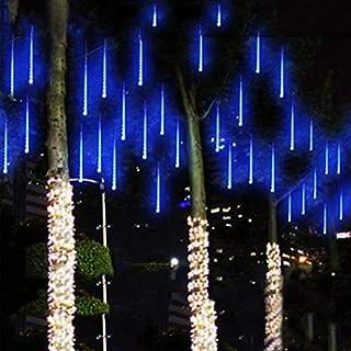 Außenleuchten, LED Meteor Shower Regen Licht, wasserdicht Garten Beleuchtung Snow Falling Regentropfen Cascading Licht für Urlaub Hochzeit Home Xmas Tree Decor 8 Stück, 50 cm (Blau)