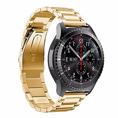 Providethebest 3 Perlen akkurates Schneiden Prozessband Ersatz-Armband-B¨¹Gel-Edelstahl-Armband-Uhrenarmband f¨¹r S3 Gold