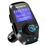 FM Transmitter, VicTsing Bluetooth Hands-Free Car Kits, Car MP3 Player Radio Adapter with Dual Port USB Car Charger and 3.5mm Audio Port, Supports Power on/off Function, Display Car Battery Voltage and Phone Number, Support TF Card and U Disk Memory up to 32G - Black